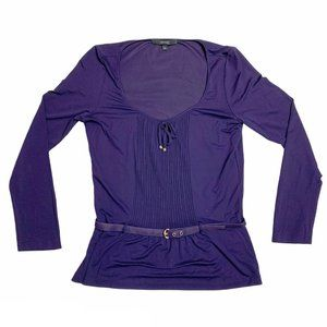 Gucci Italy Purple Viscose Belted Blouse Pleated